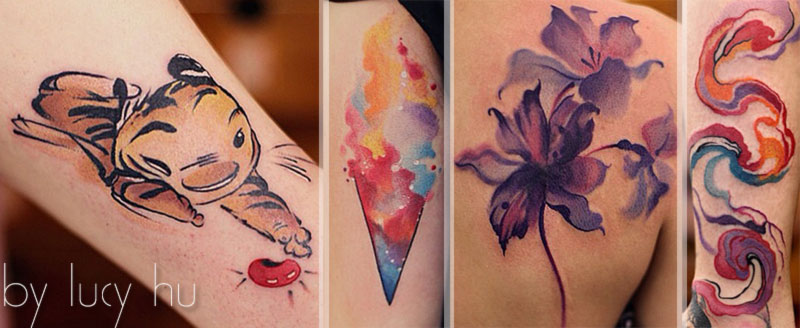 outstanding feminine watercolor tattoos Lucy Hu