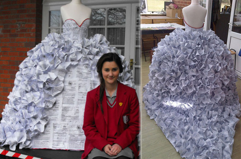 paper wedding dress made from divorce papers