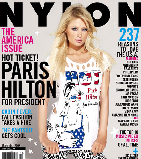 Paris Hilton Nylon magazine November 2008 cover