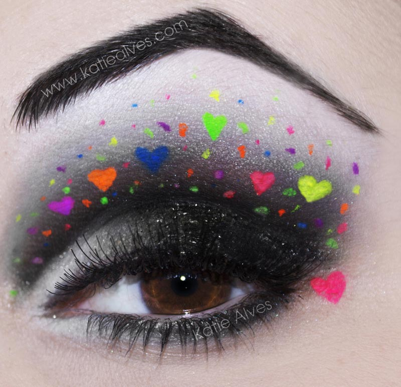 party eyes makeup hearts