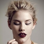 party makeup glossy burgundy lips