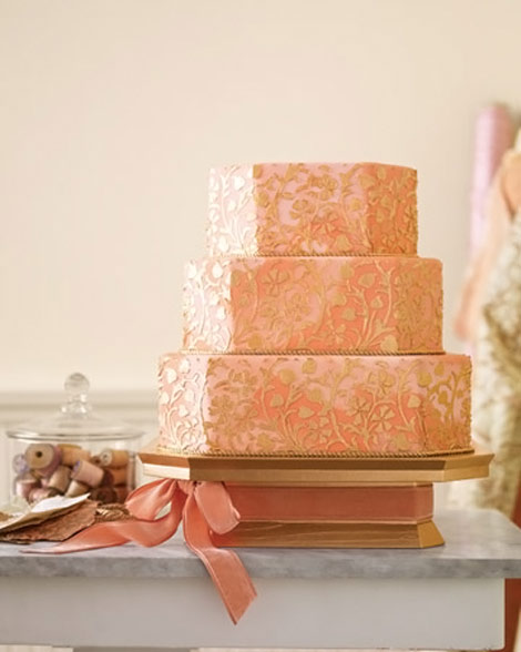 peachy wedding cake