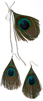 Peacock earrings and necklace Urban Outfitters