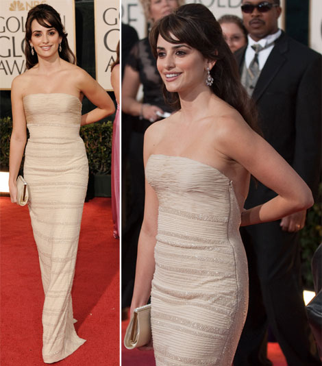 Penelope Cruz In Armani Prive Dress At The Golden Globes 2009