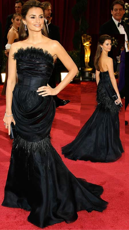 Penelope Cruz Black Feathered Dress for The 2008 Oscar Red Carpet