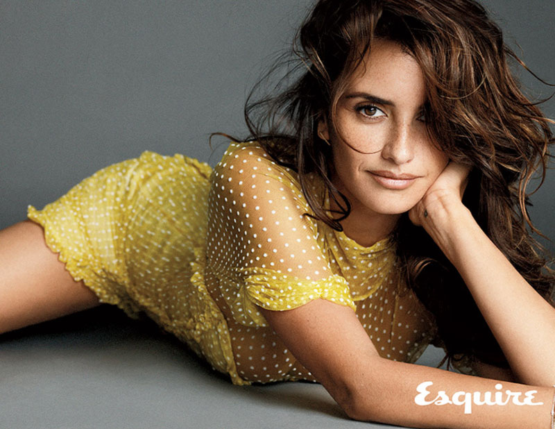 Penelope Cruz see through yellow blouse Esquire