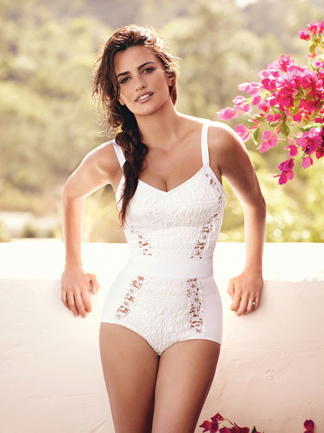 Penelope Cruz white swimsuit Vogue June 2011