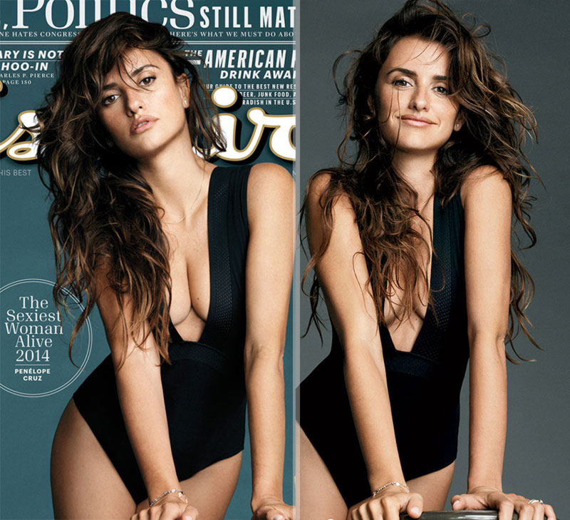 Penelope Cruz with without cleavage Esquire