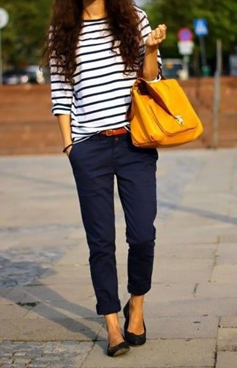 perfect casual outfit navy stripes and yellow