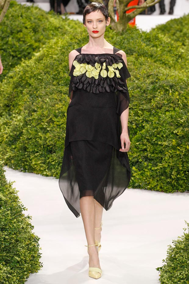 petals black dress Dior Couture Spring 2013 collection