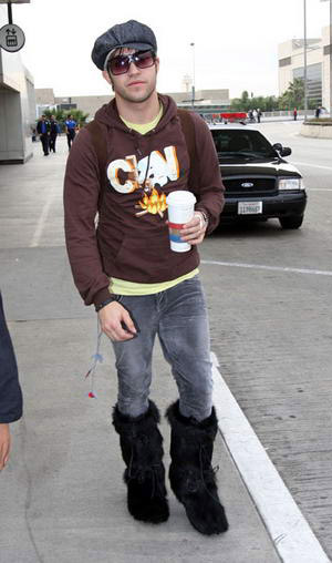 Pete Wentz black fur boots