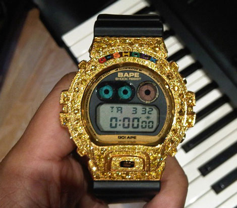 Pharrell gold Bape Casio G Shock DW 6900