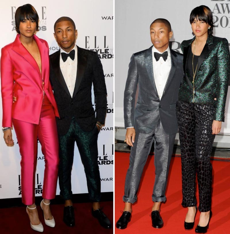 Pharrell wife elegant suit Red Carpet