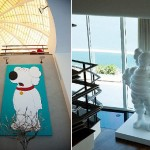 Pharell Williams home giant Kaws art
