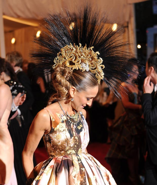 Philip Treacy mohawk worn by Sarah Jessica Parker Met Gala
