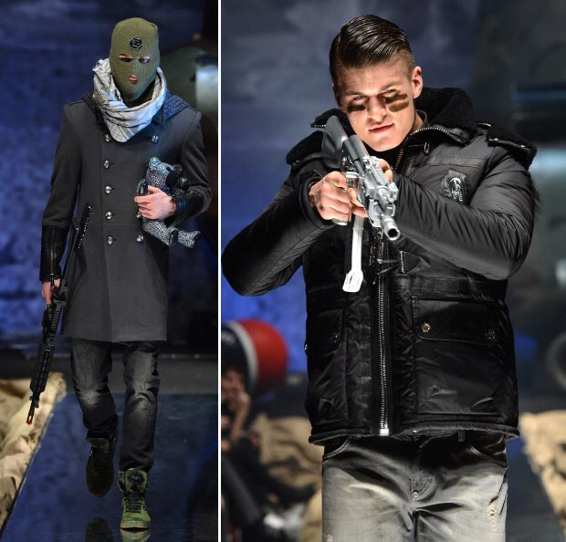 Philipp Plein's Tasteless Controversial Armed Men Fall Fashion Show