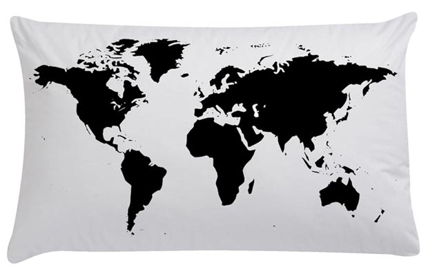 Pilloe printed pillows world map
