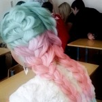 pink blue pastel braided hair