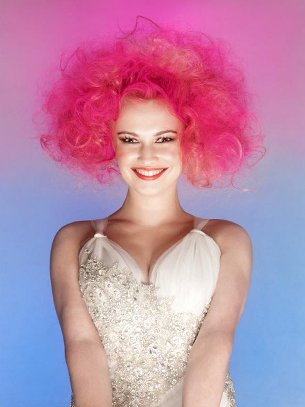 pink curly hair