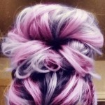 pink purple hair bun