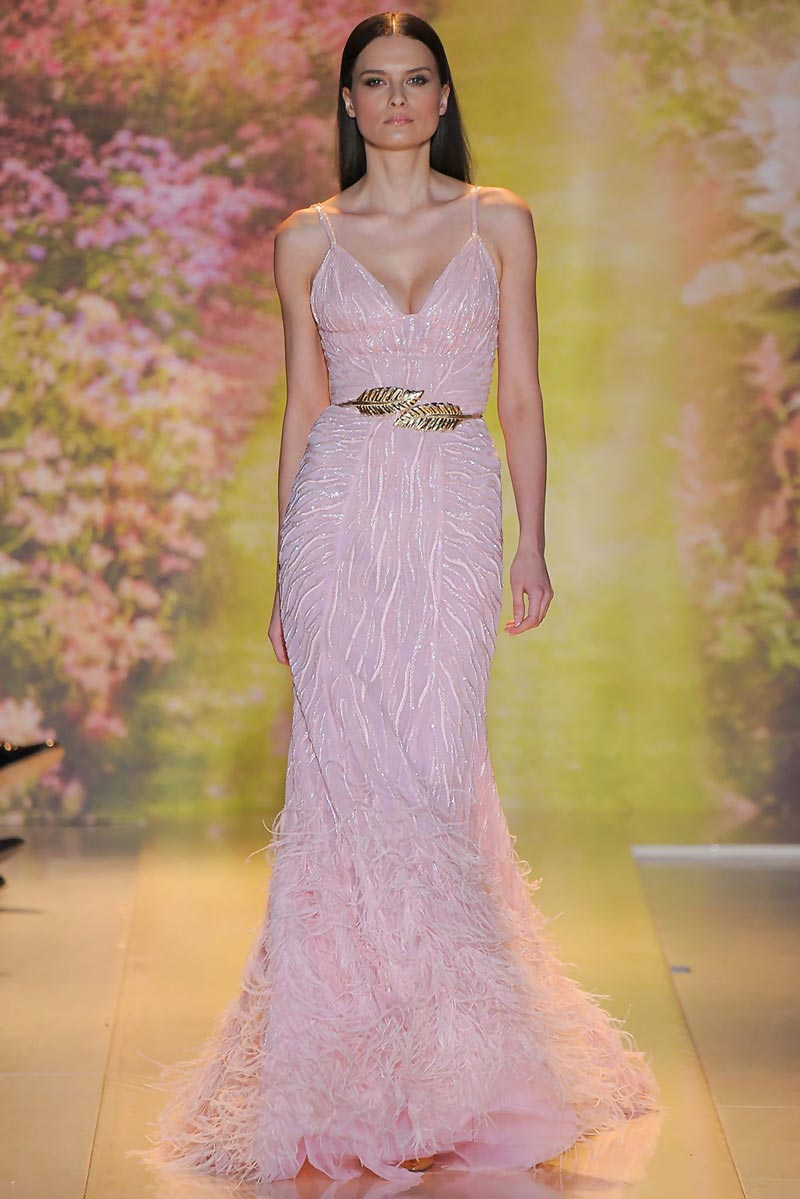 pink sequins zebra dress Zuhair Murad Spring 2014 Couture
