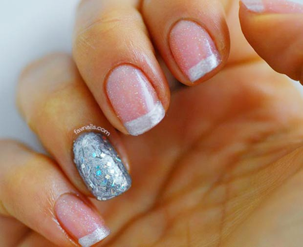 pink shimmer silver glitter french wedding nails