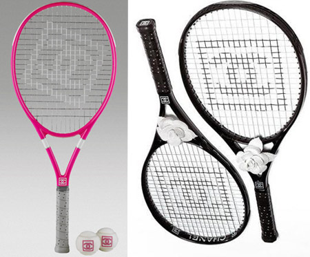 Go Tennis With Pink Chanel Racket And Balls