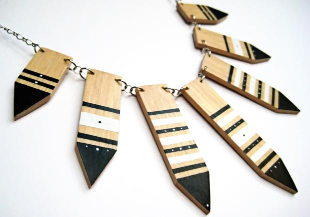 pointed painted wood necklace