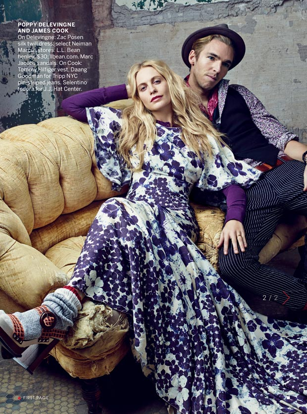 Poppy Delevigne and fiance James Cook in Vogue