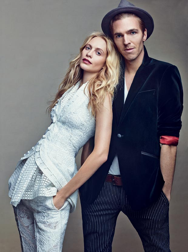Poppy Delevigne and fiance posing in Vogue