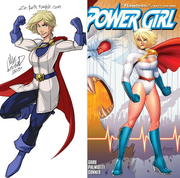 Power Girl classic costume vs modern costume