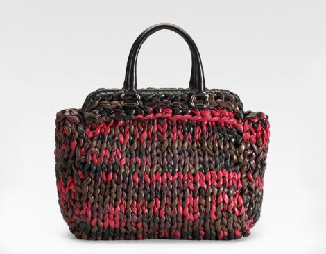 Prada Knitted leather bag large