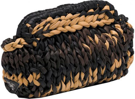 Prada Knitted leather clutch