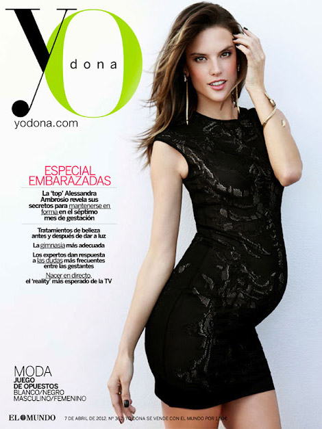 pregnant Alessandra Ambrosio in Alexander McQueen dress cover