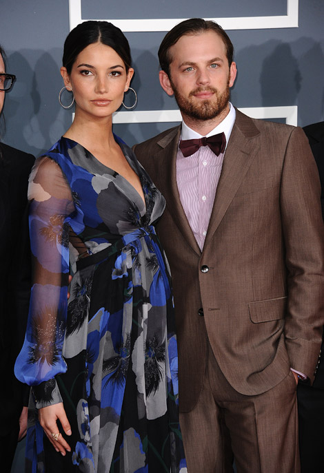 pregnant Lily Aldridge with husband Caleb Followill at the Grammies