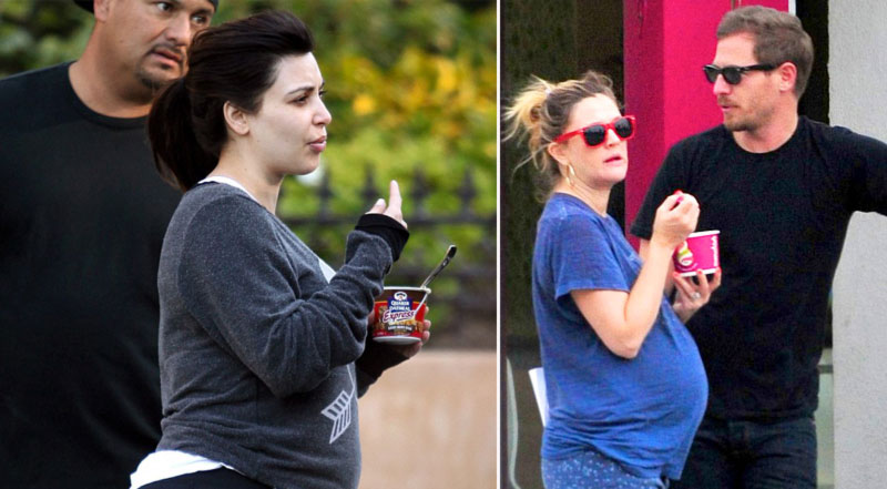 pregnant celebrities eating Kim Kardashian Drew Barrymore