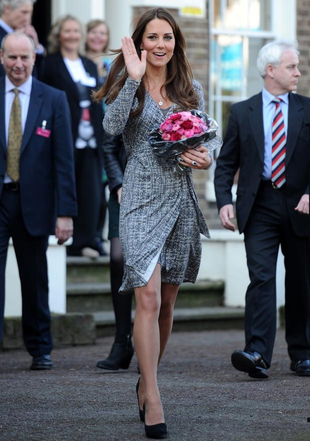Pregnant Duchess Catherine wrap dress trouble