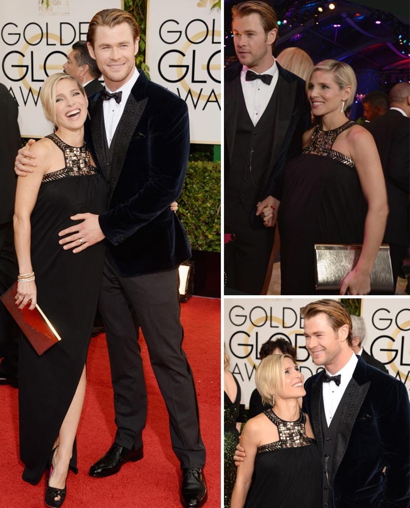 Pregnant Elsa Pataky black dress husband Golden Globes 2014