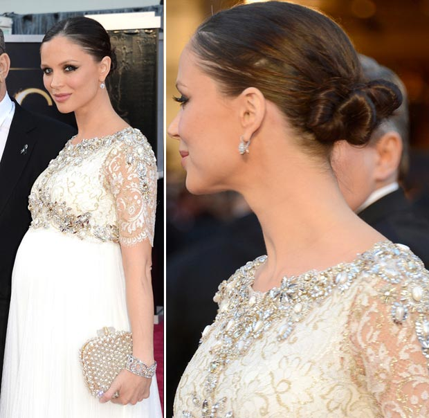 pregnant Georgina Chapman white dress 2013 Oscars