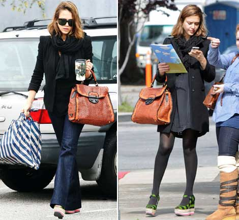 Pregnant Jessica Alba wearing Prada wedges Prada bag