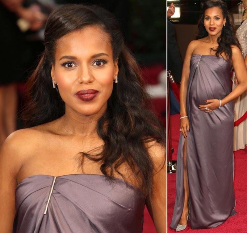 pregnant Kerry Washington 2014 Oscars mauve dress Jason Wu