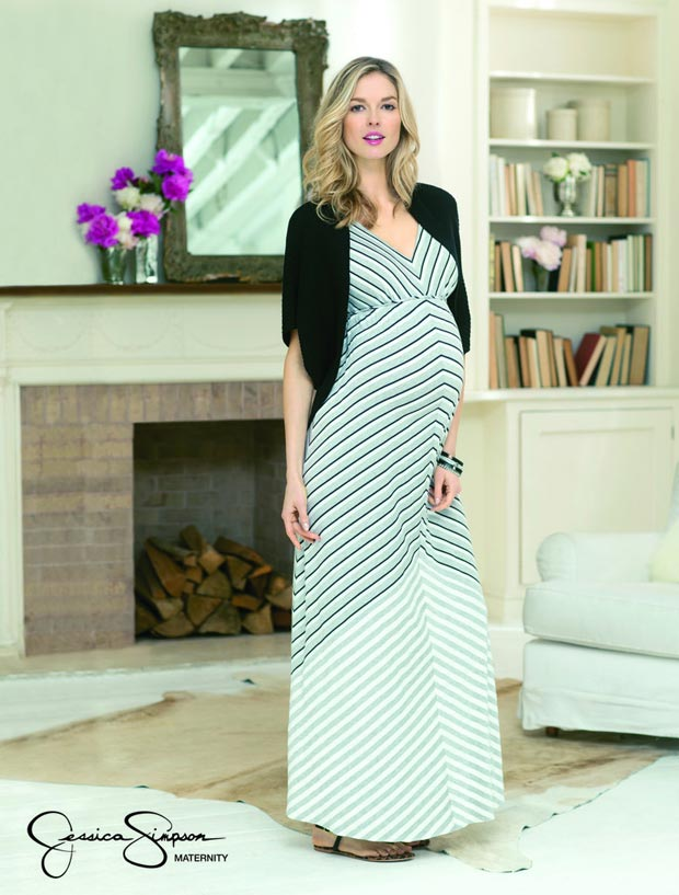 pregnant maxi dress Jessica Simpson maternity