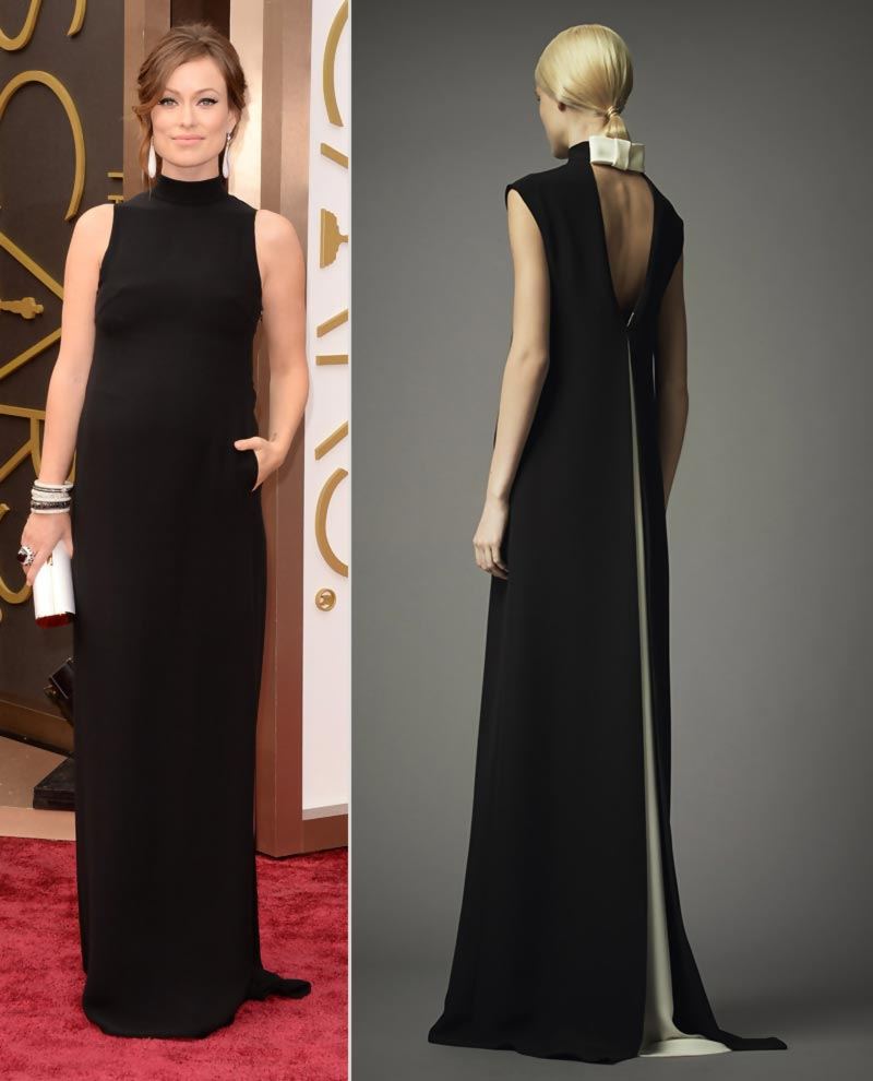 pregnant Olivia Wilde 2014 Oscars black dress Valentino