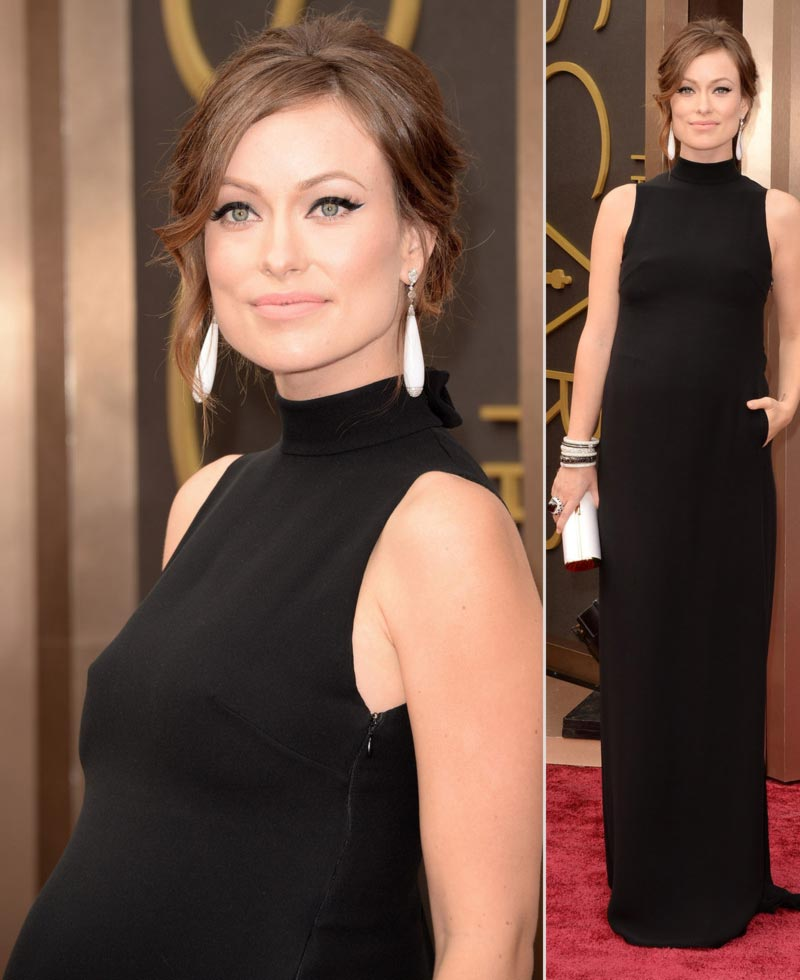 pregnant Olivia Wilde 2014 Oscars hair makeup jewelry