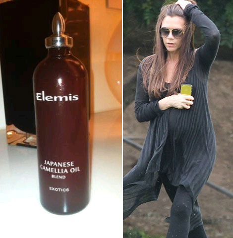 Pregnant Victoria Beckham Elemis Japanese Camellia Oil
