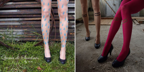 Printed tights Queues de sardines