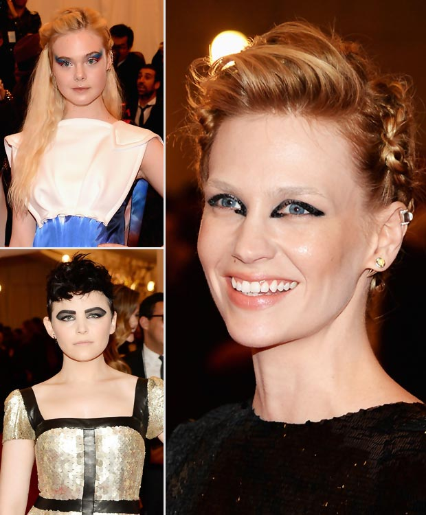 punk makeup fails 2013 Met Gala January Jones Elle Fanning Ginnifer Goodwin
