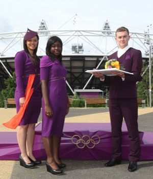 purple Victory costumes London Olympics