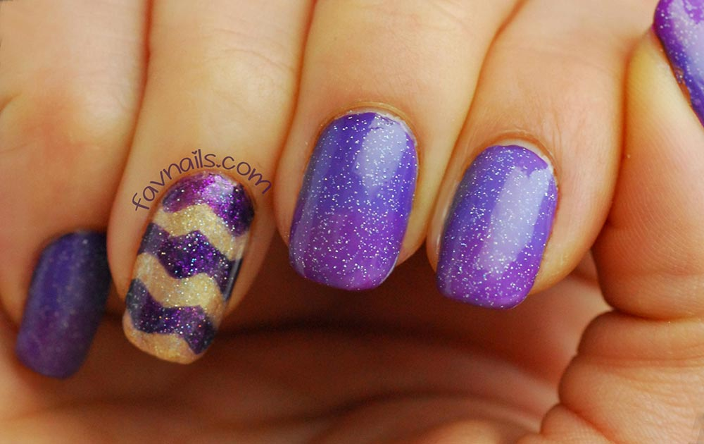 purple gradient gold chevron nails curved text watermark diy
