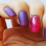 purple gradient matte nails pink glitter accent